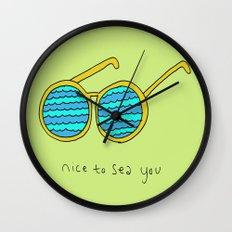 Nice to Sea You Retro Shades Green Wall Clock