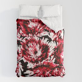 Red Black Abstract Flower Pattern  #Dahlias #Flowers Comforters