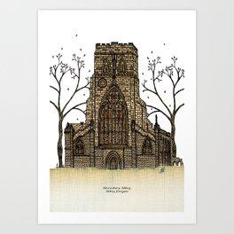 Shrewsbury Abbey, Abbey Foregate. Sepia Art Print