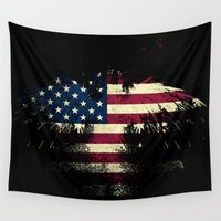 american flag Wall Tapestries featuring AMERICAN FLAG by Oksana Smith