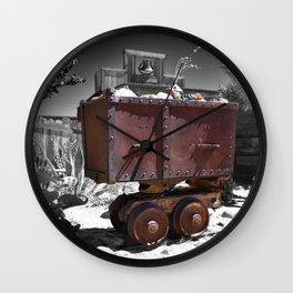 Rusty minecart Wall Clock