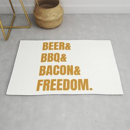 The four pillars of an happy man. Beer, barbecue, bacon and freedom. Rug