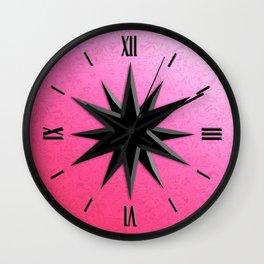 Black Onyx Compass Rose - Rose Quartz Pink Background Wall Clock
