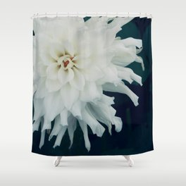 White Dahlia Shower Curtain