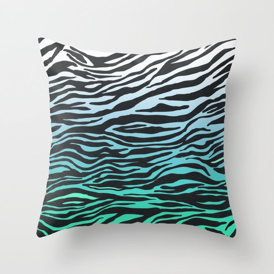 TEAL ZEBRA FADE Throw Pillow