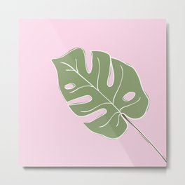 Minimal Monsetera Leaf Metal Print