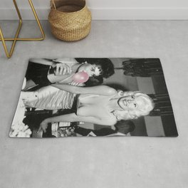 Bubble Gum Satirical Sophia Loren and Jane Mansfield black and white photography - photographs Rug