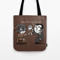 skyrim Tote Bags featuring Knee Trouble by Anna-Maria Jung