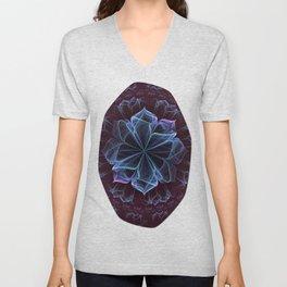 Ornate Blossom in Cool Blues Unisex V-Neck
