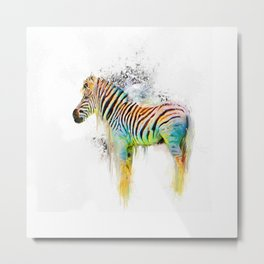 Drippy Jazzy Zebra by Jai Johnson Metal Print