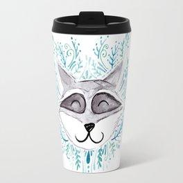 Raccoon Indie Watercolor Illustration Travel Mug
