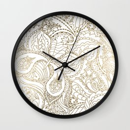 Elegant hand drawn white faux gold luxury floral Wall Clock