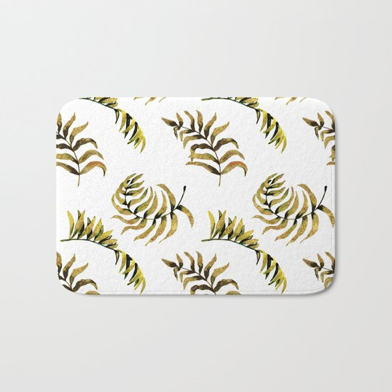 Exotic Gold Palm Leaves Pattern on #Society6 Bath Mat
