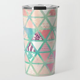 Pink Turquoise Abstract Floral Triangles Patchwork Travel Mug