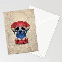 Cute Puppy Dog with flag of Thailand Stationery Cards