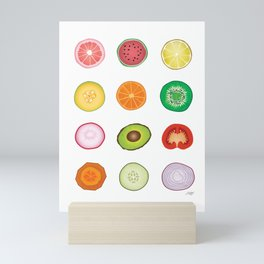 Fruits and Vegetables Collage Mini Art Print