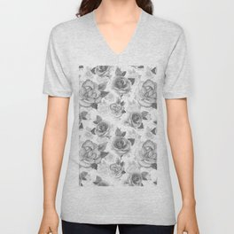 Hand painted black white watercolor roses floral pattern Unisex V-Neck
