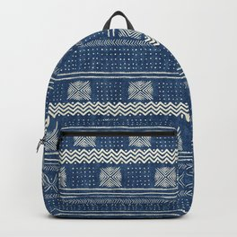Mud Cloth Geometric Stripe Navy Backpack