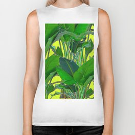 DECORATIVE TROPICAL GREEN FOLIAGE & CHARTREUSE ART Biker Tank