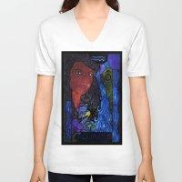aquarius V-neck T-shirts featuring Aquarius by Laura Jean