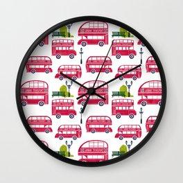 London Bus Pattern Wall Clock