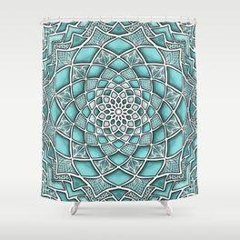 12-Fold Mandala Flower in Turquoise Shower Curtain