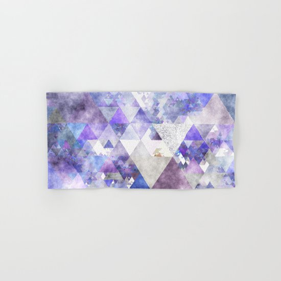 Purple and silver glitter triangle pattern- Abstract watercolor illustration Hand & Bath Towel