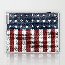 USA American Flag Rustic Jute Style 4th July Decor Laptop & iPad Skin