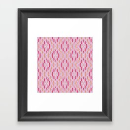 Tribal Diamond Pattern in Pink and Peach Framed Art Print
