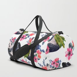 Watercolor pattern with pandas and flowers. Duffle Bag