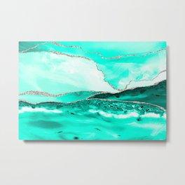 Caribbean Sea Teal Marble Waves Seascape Metal Print