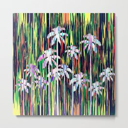 Bright Neon Multi-Colored Palm Trees and Stripes Metal Print