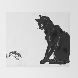 """Théophile Steinlen """"Cats: Pictures without Words (Cat and frog)"""" Throw Blanket"""