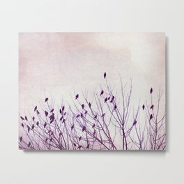 Birds in Tree Branches Photography, Purple Nature, Lavender Pastel Bird Photograph Metal Print