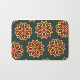 'Autumn Transition' Fall Autumn Flowers On Dark Green Bath Mat