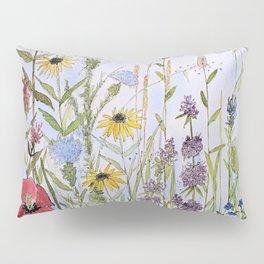 Wildflower Garden Watercolor Flower Illustration Pillow Sham