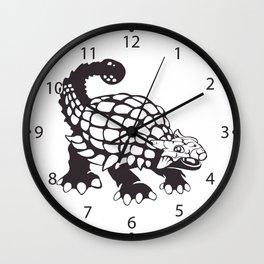 Ankylosaurus Dinosaur Prehistoric Black and White Wall Clock