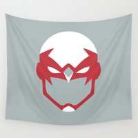 hawk Wall Tapestries featuring Hawk Mask by Minimalist Heroes