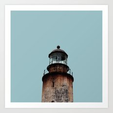 Lonely Old Lighthouse - Pale Blue Gray Art Print