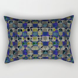 Mid Century Geometry Electric Blue Rectangular Pillow