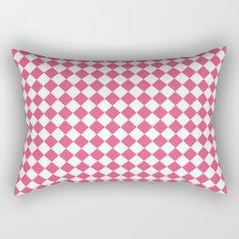 Small Diamonds - White and Dark Pink Rectangular Pillow