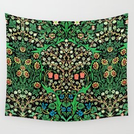 William Morris Jacobean Floral, Black Background Wall Tapestry