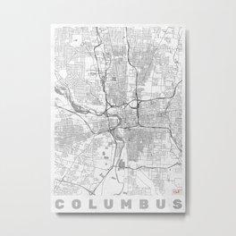 Columbus Map Line Metal Print