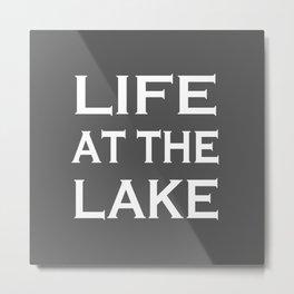 Life At The Lake - Grey and White Metal Print