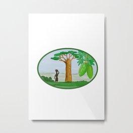 Baobab Tree and Fruit Watercolor Metal Print