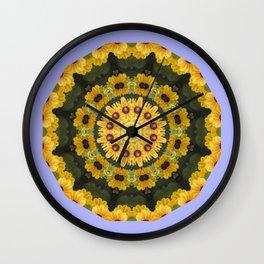 Black-eyed Susans 004.4, Floral mandala-style Wall Clock