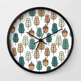 cute pattern illustration with acorns and autumn oak leaves Wall Clock