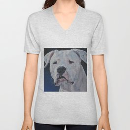 The Dogo Argentino dog art portrait from an original painting by L.A.Shepard Unisex V-Neck