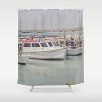 boats Shower Curtains featuring boats by studiomarshallarts