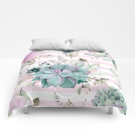 Simply Succulent Garden on Desert Rose Pink Striped Comforters